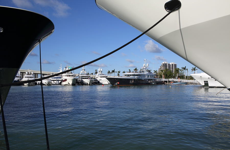 2019 Miami Yacht Show a view from between two yachts at Island Gardens